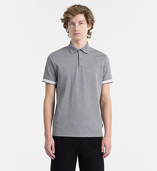 CALVINKLEIN Mesh Jersey Polo - MEDIUM GREY HTR - CALVIN KLEIN CLOTHES - main image