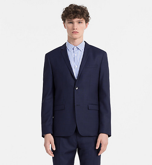 CALVINKLEIN Slim Virgin Wool Blazer - MEDIEVAL BLUE - CALVIN KLEIN BLAZERS & SUITS - main image