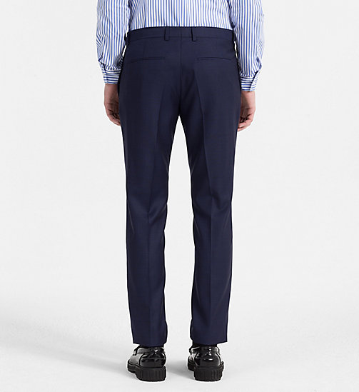 CALVINKLEIN Slim Virgin Wool Trousers - MEDIEVAL BLUE - CALVIN KLEIN TROUSERS - detail image 1