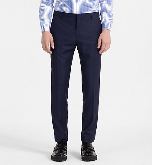 CALVINKLEIN Slim Virgin Wool Trousers - MEDIEVAL BLUE - CALVIN KLEIN TROUSERS - main image