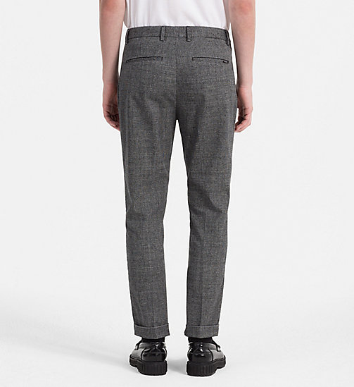 CALVINKLEIN Fitted Textured Cotton Trousers - MAGNET - CALVIN KLEIN TROUSERS & SHORTS - detail image 1