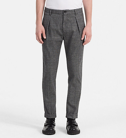 CALVINKLEIN Fitted Textured Cotton Trousers - MAGNET - CALVIN KLEIN TROUSERS - main image