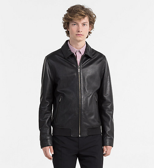 CALVINKLEIN Leather Bomber Jacket - PERFECT BLACK - CALVIN KLEIN NEW IN - main image