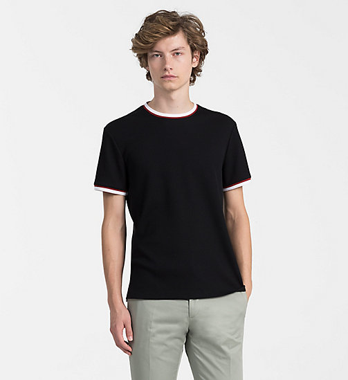 CALVINKLEIN Waffle Cotton T-shirt - PERFECT BLACK - CALVIN KLEIN BACK IN BUSINESS - main image