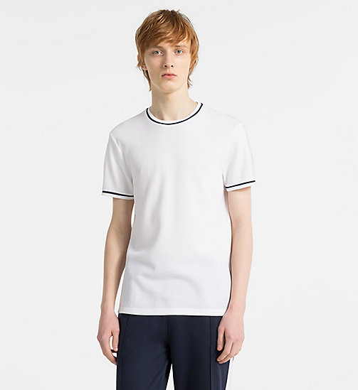 CALVINKLEIN Waffle Cotton T-shirt - PERFECT WHITE -  MODERN VARSITY - main image