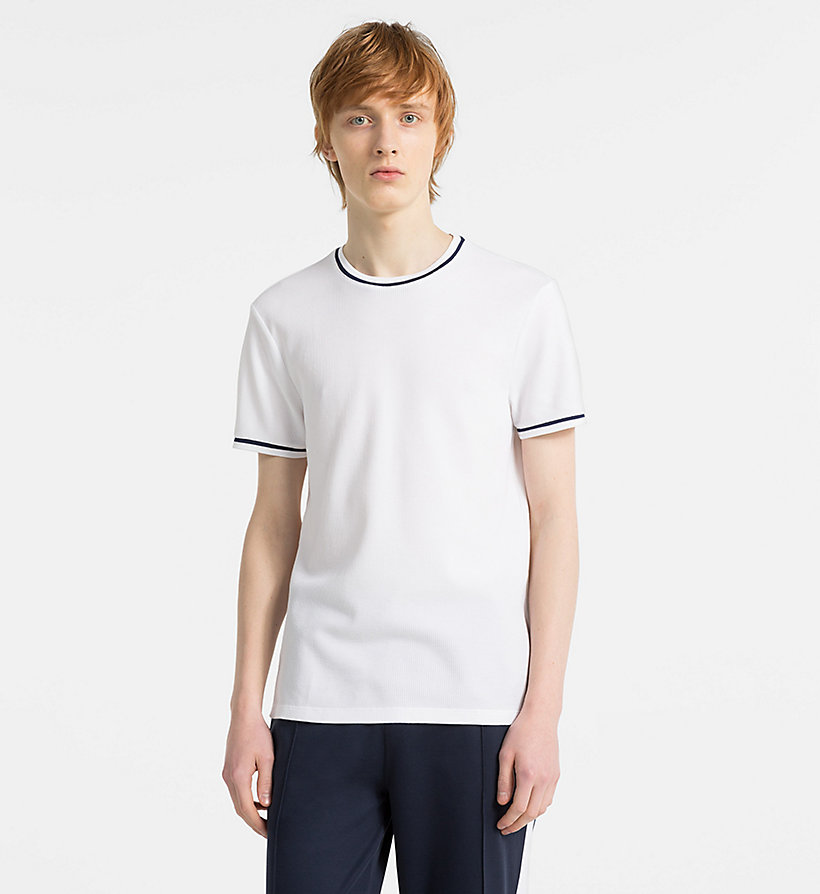 CALVINKLEIN Waffle Cotton T-shirt - PERFECT BLACK - CALVIN KLEIN MEN - main image