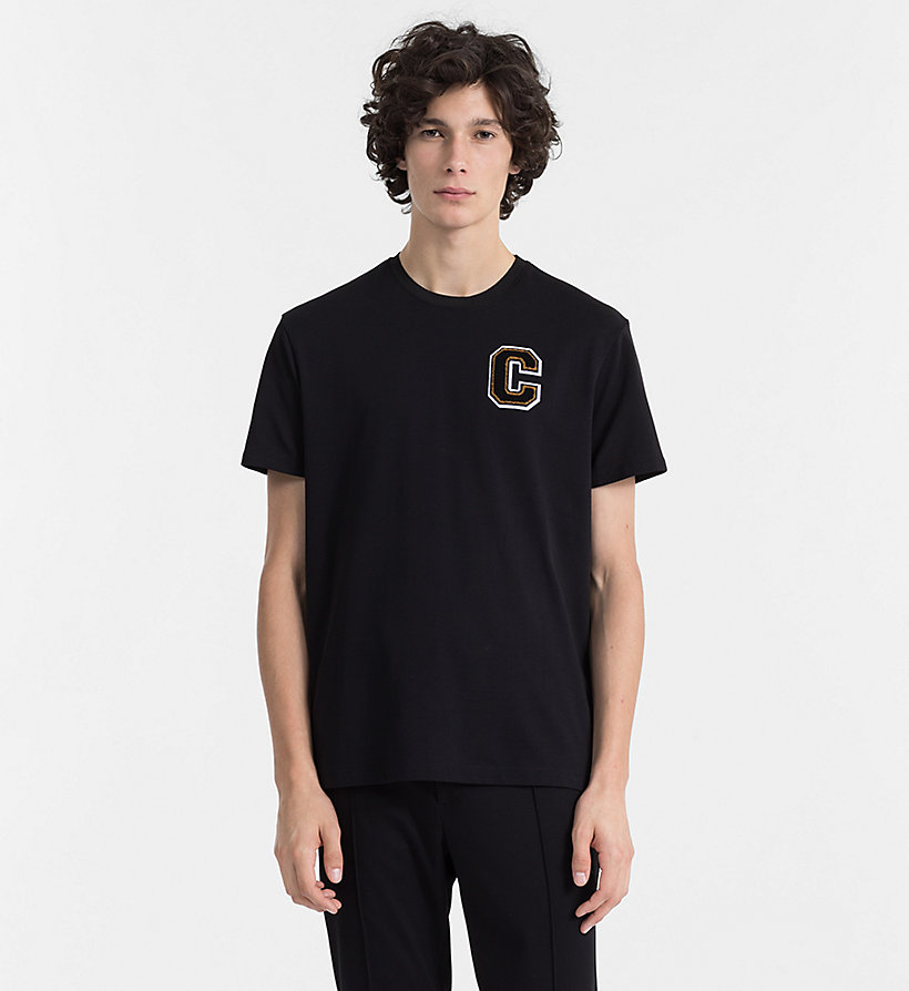 CALVINKLEIN Cotton Piqué Badge T-shirt - BUCKTHORN BROWN - CALVIN KLEIN MEN - main image