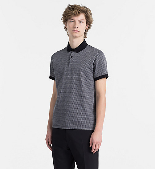 CALVINKLEIN Cotton Jacquard Check Polo - PERFECT BLACK -  CLOTHES - main image