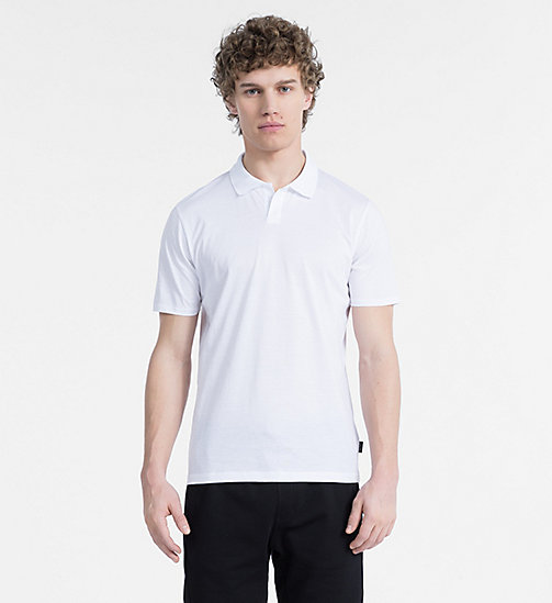 CALVINKLEIN Mercerized Cotton Polo - PERFECT WHITE - CALVIN KLEIN BACK IN BUSINESS - main image