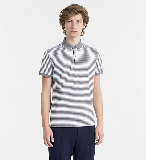 CALVINKLEIN Pima Cotton Stripe Polo - MEDIUM GREY HTR - CALVIN KLEIN NEW IN - main image