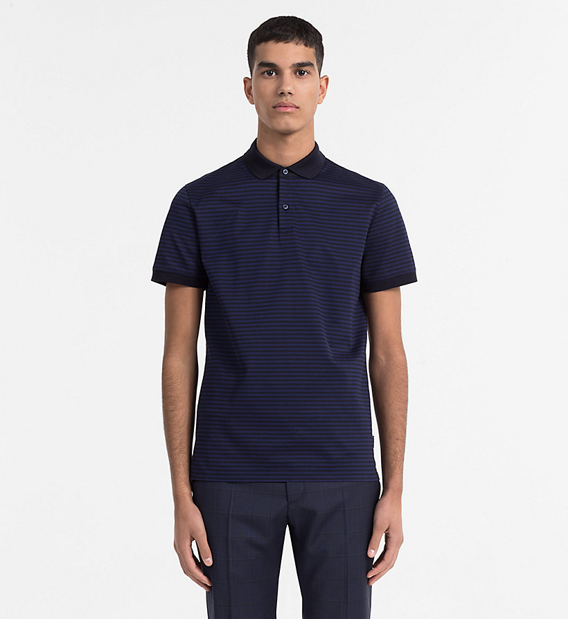 CALVINKLEIN Pima Cotton Stripe Polo - MEDIUM GREY HTR - CALVIN KLEIN MEN - main image
