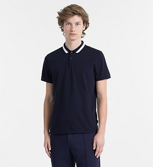 CALVINKLEIN Cotton Piqué Polo - SKY CAPTAIN - CALVIN KLEIN BACK IN BUSINESS - main image