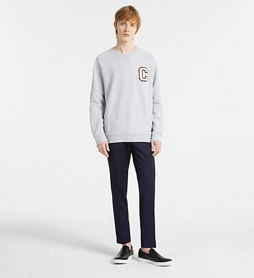 CALVINKLEIN Logo Badge Sweatshirt - LIGHT GREY HEATHER - CALVIN KLEIN MODERN VARSITY - detail image 1