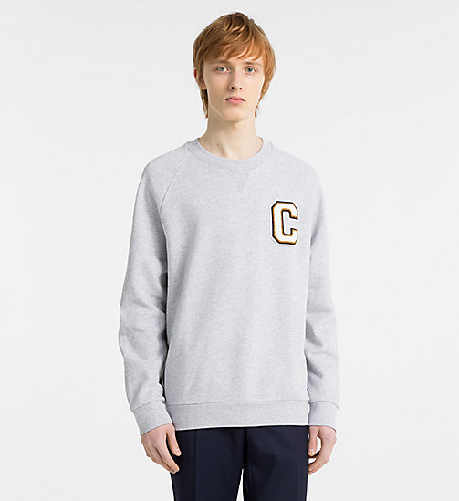 CALVINKLEIN Logo Badge Sweatshirt - LIGHT GREY HEATHER - CALVIN KLEIN MODERN VARSITY - main image