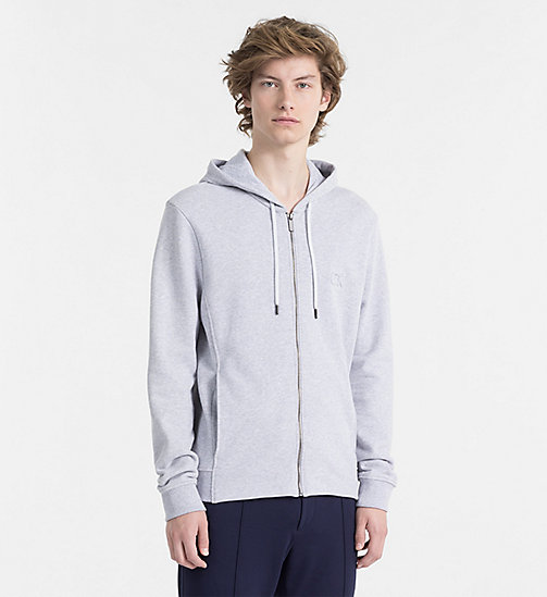CALVINKLEIN Embossed Logo Hoodie - LIGHT GREY HEATHER -  MODERN VARSITY - main image