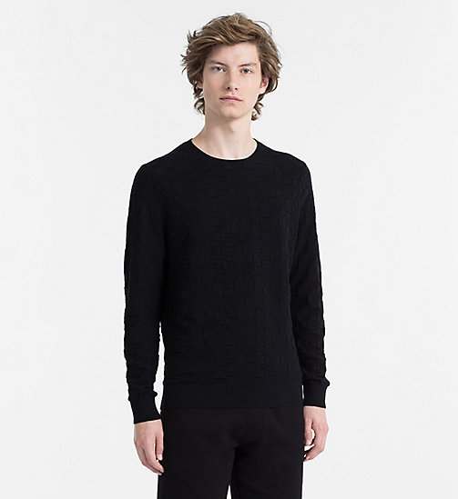 CALVINKLEIN Textured Check Jumper - PERFECT BLACK - CALVIN KLEIN CLOTHES - main image