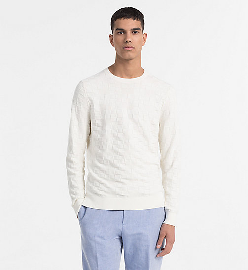 CALVINKLEIN Textured Check Jumper - EGRET - CALVIN KLEIN CLOTHES - main image