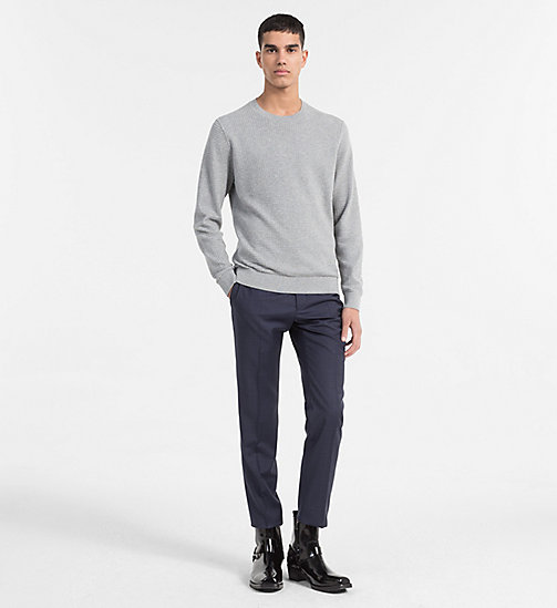 CALVINKLEIN Structured Cotton Wool Jumper - MID GREY HEATHER - CALVIN KLEIN NEW IN - detail image 1