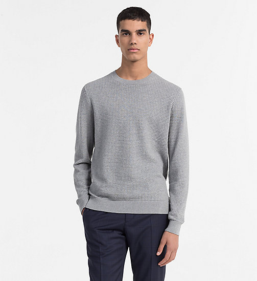 CALVINKLEIN Structured Cotton Wool Jumper - MID GREY HEATHER - CALVIN KLEIN NEW IN - main image