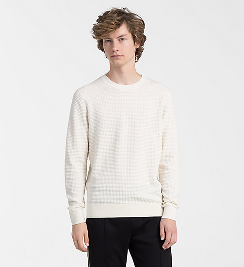 CALVINKLEIN Structured Cotton Wool Jumper - EGRET - CALVIN KLEIN NEW IN - main image