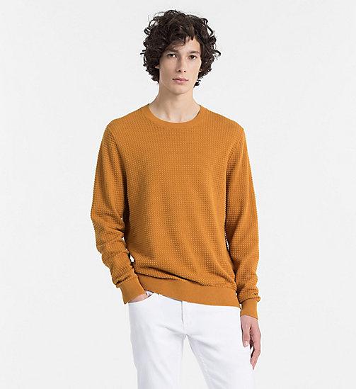 CALVINKLEIN Strukturierter Sweater aus Baumwoll-Woll-Mix - BUCKTHORN BROWN -  CLOTHES - main image