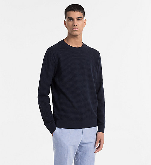 CALVINKLEIN Structured Cotton Wool Jumper - SKY CAPTAIN - CALVIN KLEIN BACK IN BUSINESS - main image