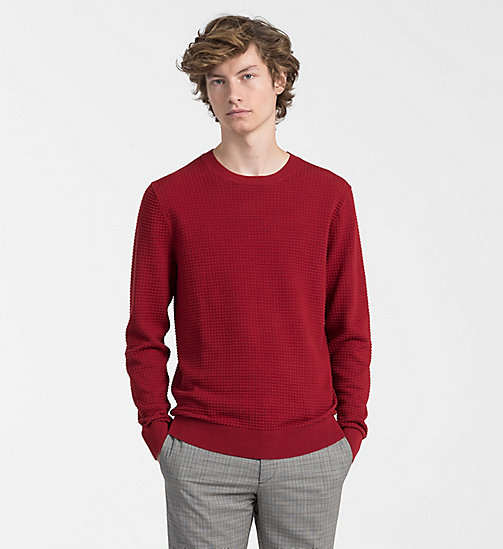 CALVINKLEIN Structured Cotton Wool Jumper - RED DAHLIA - CALVIN KLEIN NEW IN - main image
