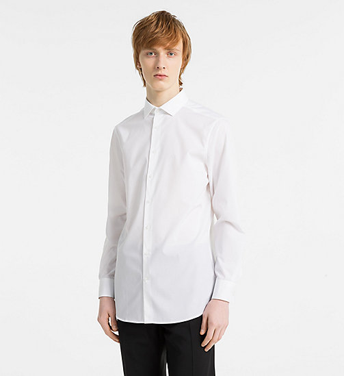 CALVINKLEIN Slim Stretch Poplin Shirt - PERFECT WHITE - CALVIN KLEIN CLOTHES - main image