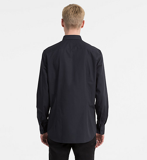 CALVINKLEIN Slim Stretch Poplin Shirt - TRUE NAVY - CALVIN KLEIN CLOTHES - detail image 1