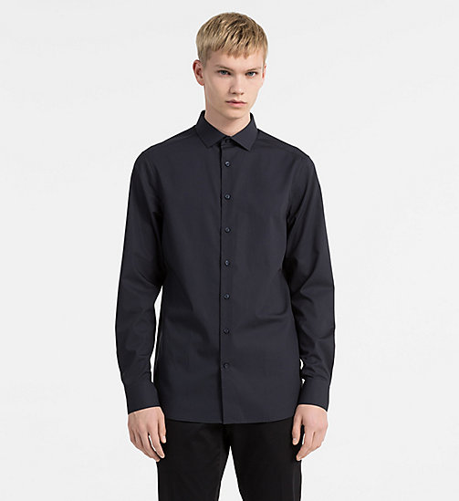 CALVINKLEIN Slim Stretch Poplin Shirt - TRUE NAVY - CALVIN KLEIN CLOTHES - main image