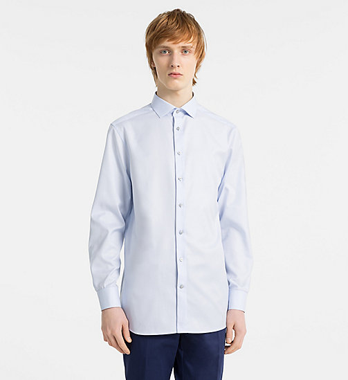 CALVINKLEIN Slim Basketweave Shirt - SOFT BLUE - CALVIN KLEIN NEW IN - main image