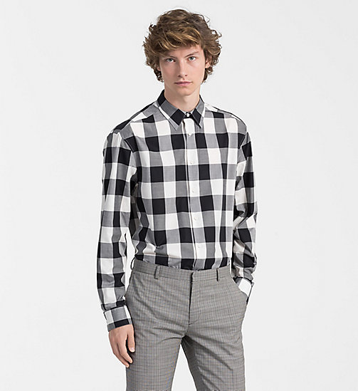 CALVINKLEIN Fitted Block Check Shirt - PERFECT BLACK - CALVIN KLEIN CLOTHES - main image