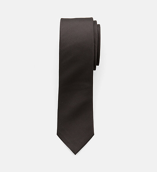 CALVINKLEIN Slim Silk Tie - PERFECT BLACK - CALVIN KLEIN CLOTHES - main image