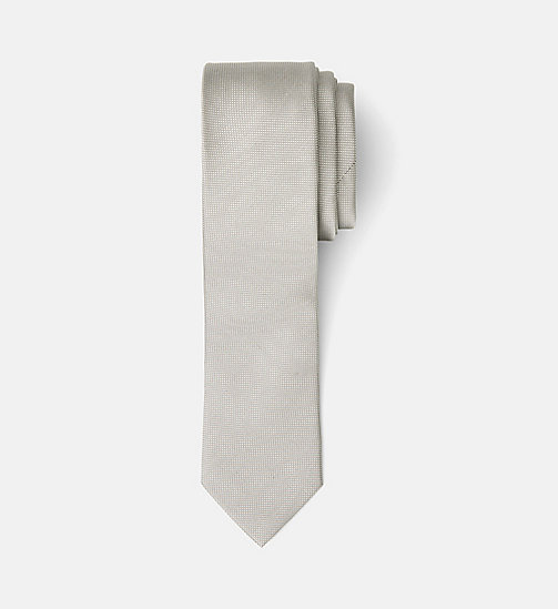 CALVINKLEIN Slim Silk Tie - LIGHT GREY - CALVIN KLEIN TIES - main image