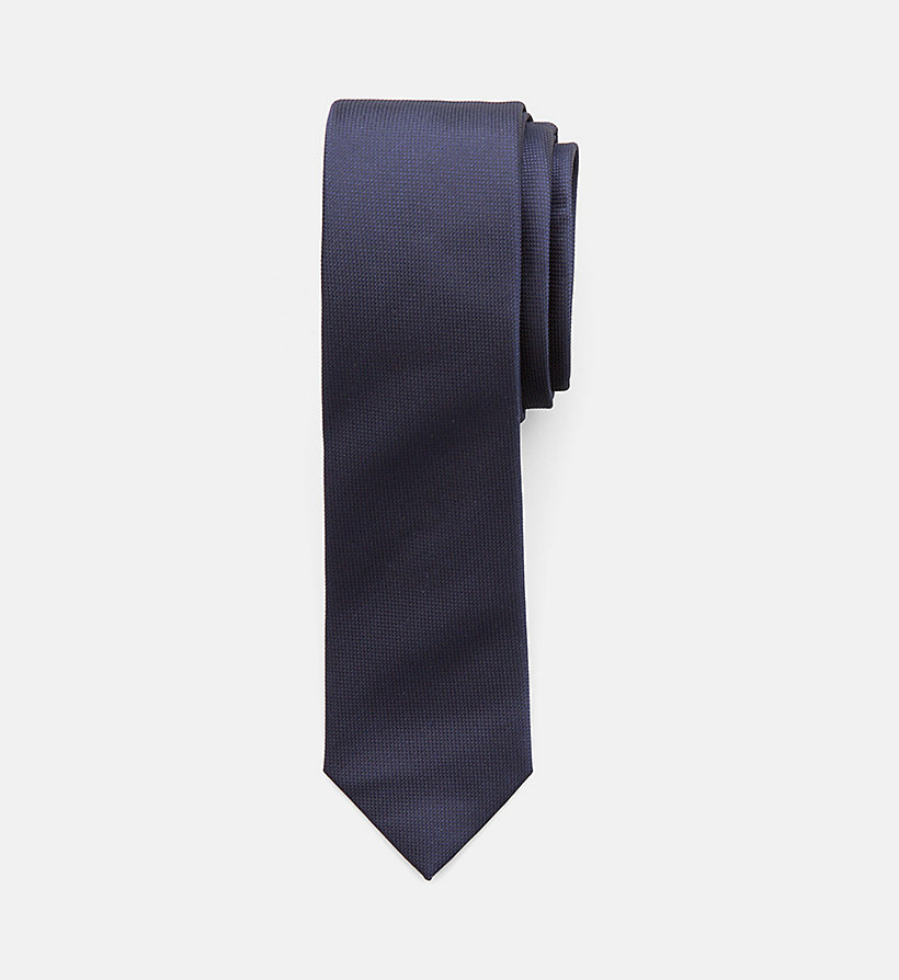 CALVINKLEIN Slim Silk Tie - LIGHT GREY - CALVIN KLEIN MEN - main image