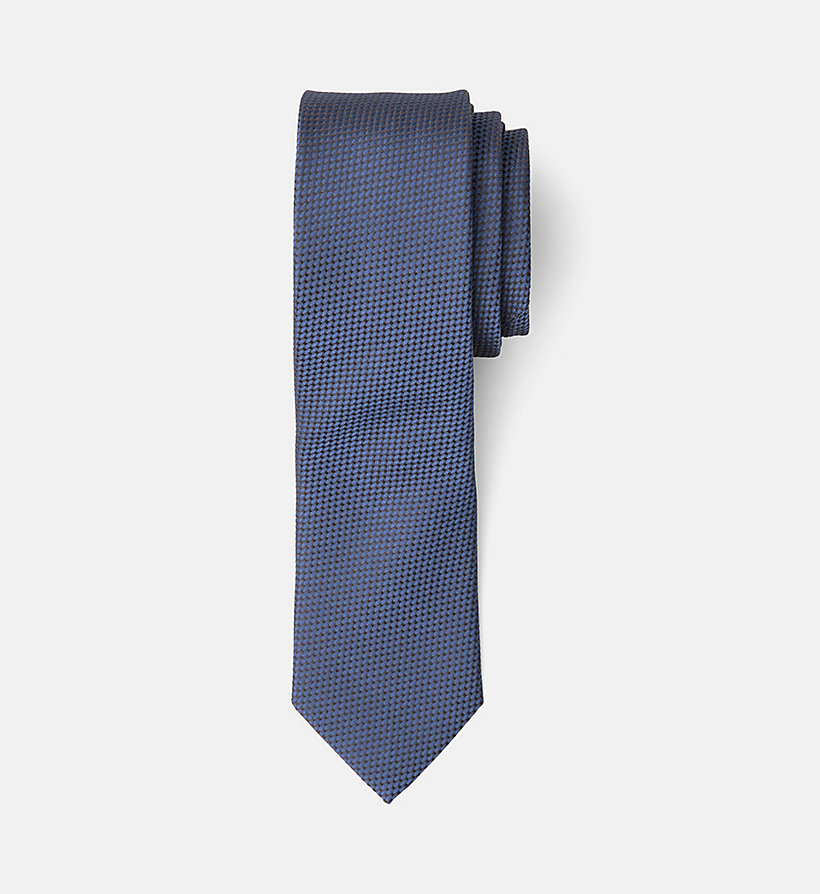 CALVINKLEIN Slim Silk Tie - SILVER LAKE BLUE - CALVIN KLEIN MEN - main image