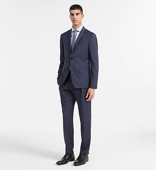 CALVINKLEIN Virgin Wool Pinstripe Suit - MEDIEVAL BLUE - CALVIN KLEIN BACK IN BUSINESS - main image