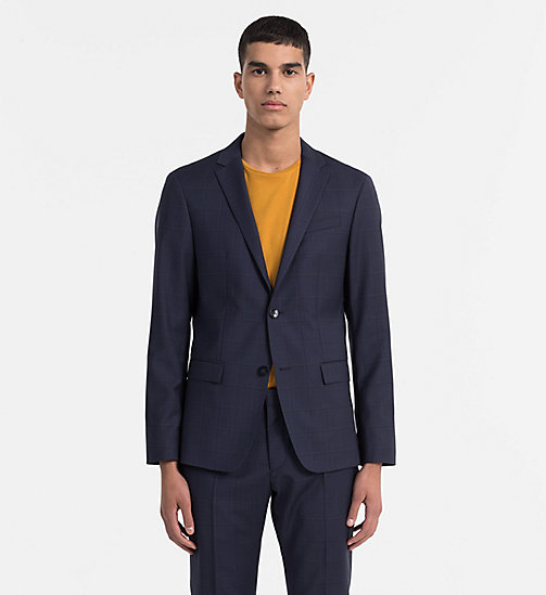 CALVINKLEIN Fitted Wool Check Blazer - TRUE NAVY - CALVIN KLEIN NEW IN - main image