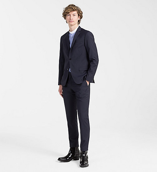 CALVINKLEIN Fitted Wool Pinstripe Blazer - TRUE NAVY - CALVIN KLEIN CLOTHES - detail image 1