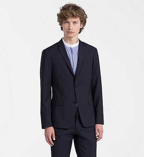 CALVINKLEIN Fitted Wool Pinstripe Blazer - TRUE NAVY - CALVIN KLEIN BACK IN BUSINESS - main image