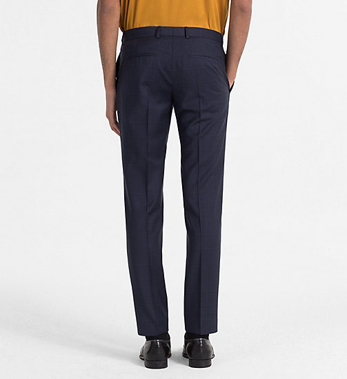 CALVINKLEIN Fitted Wool Check Trousers - TRUE NAVY - CALVIN KLEIN CLOTHES - detail image 1