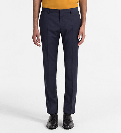 CALVINKLEIN Fitted Wool Check Trousers - TRUE NAVY - CALVIN KLEIN CLOTHES - main image