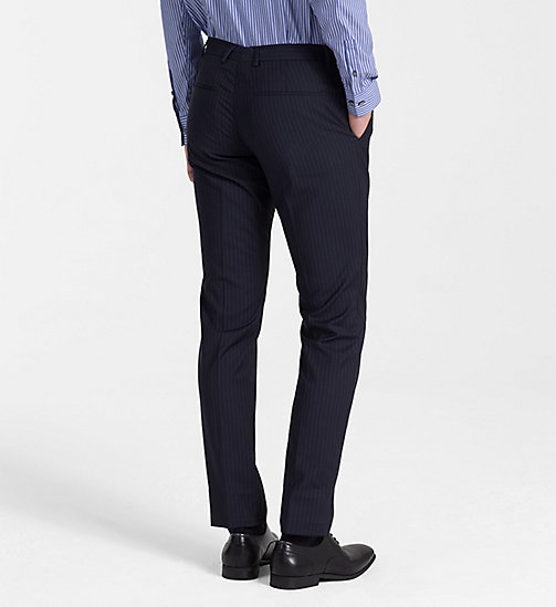 CALVINKLEIN Fitted Wool Pinstripe Trousers - TRUE NAVY - CALVIN KLEIN BACK IN BUSINESS - detail image 1