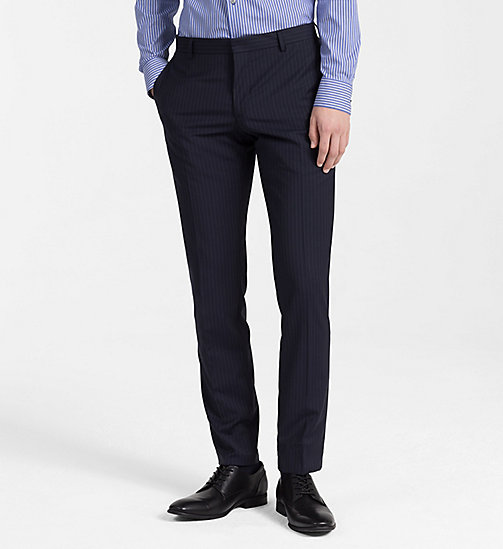 CALVINKLEIN Fitted Wool Pinstripe Trousers - TRUE NAVY - CALVIN KLEIN BACK IN BUSINESS - main image