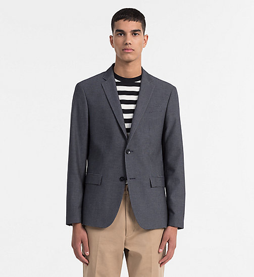 CALVINKLEIN Fitted Textured Cotton Blazer - BLUE NIGHTS - CALVIN KLEIN CLOTHES - main image