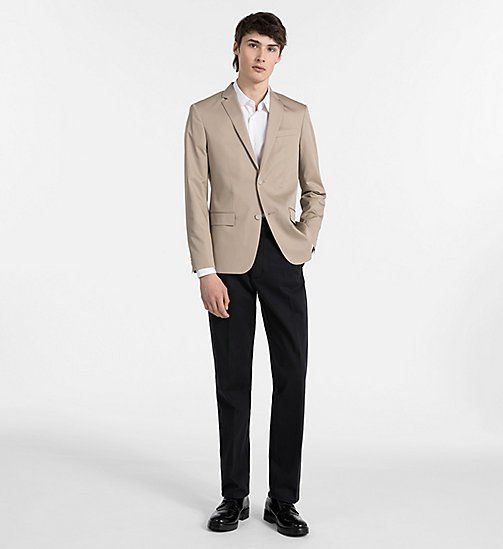 CALVINKLEIN Fitted Cotton Twill Blazer - LIGHT KHAKI - CALVIN KLEIN CLOTHES - detail image 1
