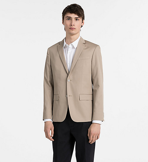 CALVINKLEIN Fitted Cotton Twill Blazer - LIGHT KHAKI - CALVIN KLEIN CLOTHES - main image