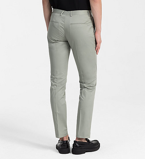 CALVINKLEIN Fitted Cotton Twill Trousers - SHADOW - CALVIN KLEIN CLOTHES - detail image 1