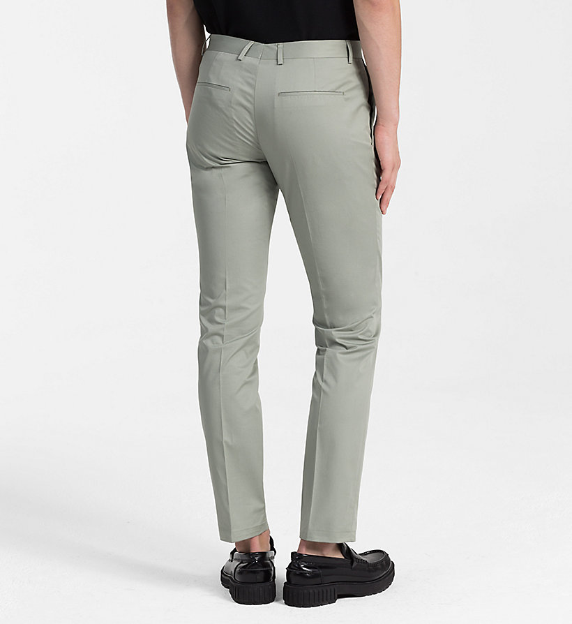 CALVINKLEIN Fitted Cotton Twill Trousers - LIGHT VIOLET - CALVIN KLEIN MEN - detail image 1