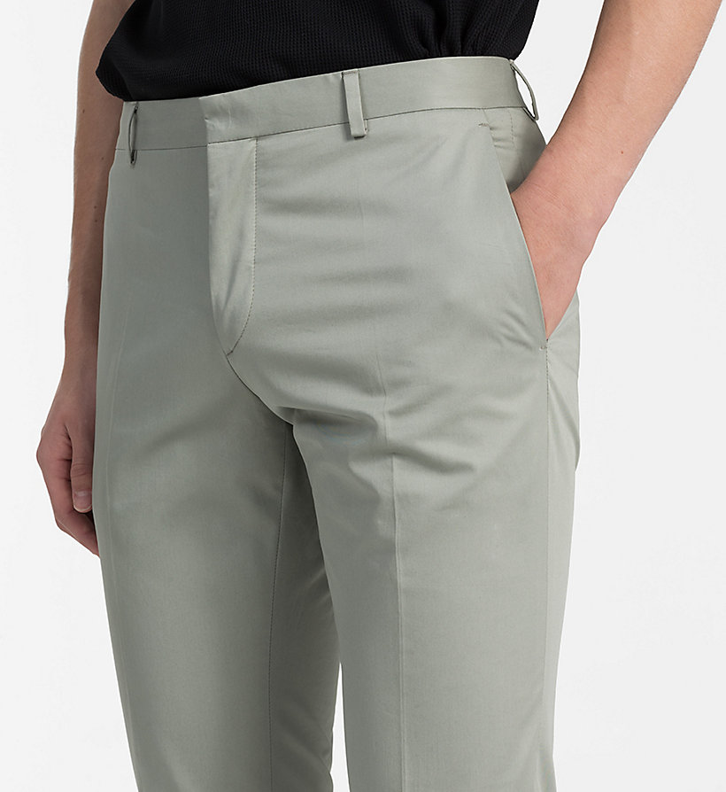 CALVINKLEIN Fitted Cotton Twill Trousers - LIGHT VIOLET - CALVIN KLEIN MEN - detail image 2